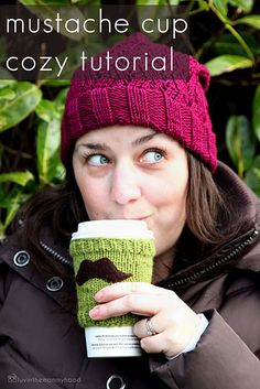 Cute mustache cup cozy.  Everybody needs a 'stache.