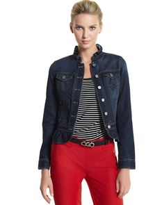 RUFFLED PEPLUM DENIM JACKET  STYLE: 570057831  Overall Rating   4.6 / 5  read all 57 reviews  write a review  A slim-fitting jacket—part Western tradition, part dressmaker details. 89% Cotton, 11% Tencel®. Machine wash inside out, cold; tumble dry low. Imported.  Contour close-to-the-body fit.  Dark wash.  Ruffled stand collar. Front placket with silvertone shank closures. Button-flap chest pockets set at shoulder yoke. Top-stitched panel seaming. Gathered peplum.