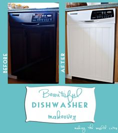 Give your dishwasher the ultimate makeover by adding a panel and a new coat of paint. Here are DIY tips to try at home! (via @tiffhewlett)