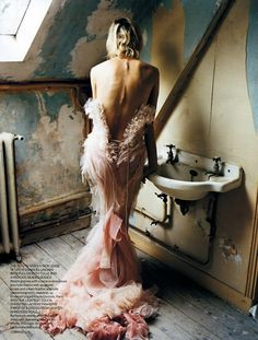 love the whisper tulle next to the industrial sink