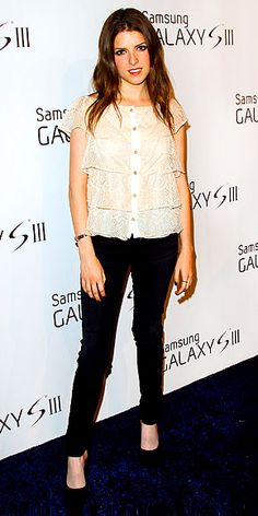 ANNA KENDRICK ~ At a Samsung event the actress opts for a slightly lower-key look pairing black skinnies w/a lacy tiered button-up & simple pumps.