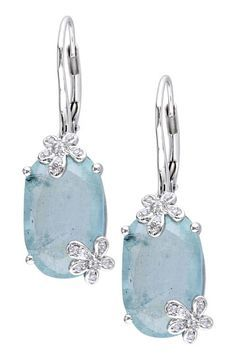 A Pair of Aquamarine and Diamond Ear Pendants. Each suspending a rectangular-cut aquamarine, weighing approximately carats in total, from a square and circular-cut pavé-set diamond link, to the collet-set circular-cut diamond surmount, mounted in pla Jewelry Box, Jewelry Accessories, Fine Jewelry, Jewelry Design, Pandora Jewelry, Flower Jewelry, Gems Jewelry, Aquamarine Earrings, Diamond Earrings