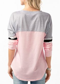 Lace Up Front Color Block Curved Hem T Shirt   Rosewe.com - USD $27.70