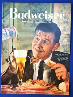 1958 BUDWEISER BEER AD Vintage Bud Advertisement Mama Mia Italian Pasta Food Art