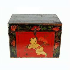 Antique Hand-painted Child with Longevity Peach Trunk - The trunk can be used as a keepsake box, storage for reading materials, toy bin, or for any other decorative and useful function in the home.