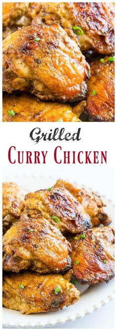 Grilled Curry Chicken Thighs, Video These grilled curry chicken thighs are juicy and flavorful. And it requires minimal hands-on time and only 4 ingredients! Chicken Thighs Curry Recipe, Baked Curry Chicken, Grilled Chicken Thighs, Chicken Thigh Recipes, Grilled Chicken Recipes, Best Chicken Recipes, Grilled Meat, Keto Chicken, Chicken Ideas