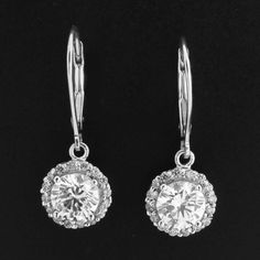 3.00ct VVS1 Round Cut Diamond 14k White Gold Halo Drop Earrings Lever backs 256G #Affinityjewelry #DropDangle