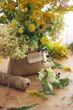 A Humble Fall Arrangement – Burlap and Wildflowers