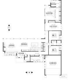 U Shaped House Plans, U Shaped Houses, Pool House Plans, Ranch House Plans, New House Plans, Dream House Plans, Small House Plans, Floor Plan 4 Bedroom, Three Bedroom House Plan