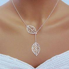 Punk Fashion Minimalist Two Leaves Pendant Clavicle Necklaces, Simple Punk Necklaces Boho Necklaces