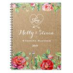 Wedding Planner Burlap with red roses Notebook #weddinginspiration #wedding #weddinginvitions #weddingideas #bride