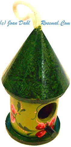 Bird House All Year Decoration Green Handpainted Orginal Artist Signed 52BHRG | eBay