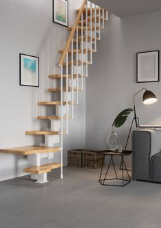 Space saving stairs from Premier Loft Ladders. The Compatta space saving staircase is an an easy to install modular system offering high quality and style Space Saver Staircase, Small Staircase, Loft Staircase, House Stairs, Staircase Design, Attic Stairs, Stairs For Loft, Stairs In Small Spaces, Modular Staircase