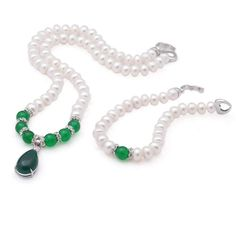 8-9mm Natural Freshwater Pearl with Agate Pendant Set: Necklace (Length: 43cm (Available Colors: Green, Red)) Bracelet (Length: 18.5cm (Available Colors: Green, Red))