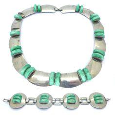 Vintage Art Deco Machine Aged Carved Floral Glass Panel Necklace & Bracelet Set- AF | Clarice Jewellery | Vintage Costume Jewellery
