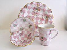 Mackenzie Childs Honeymoon Pink Ceramic Majolica Pottery 4 Piece Collection '97