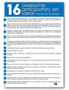 16 Awesome Anticipatory Set Ideas for your lessons!