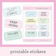 Add the good vibes in your journal with these printable positive quotes! This sticker sheet comes with 8 inspirational quotes that you can use for your bullet journal, planner, scrapbook, and more. And since this is printable, you can have UNLIMITED PRINTS!  🧡 This Set Includes 🧡 1 PDF Instruction Planner Stickers, Journal Stickers, Bullet Journal Contents, Bullet Journal Layout, Bullet Journals, Printable Quotes, Printable Stickers, Aesthetic Stickers, Sticker Shop