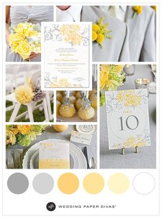 yellow grey vintage floral wedding invitations