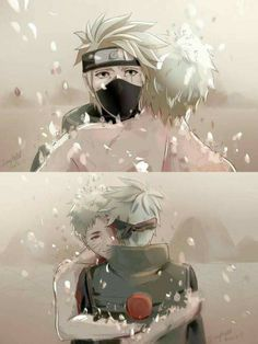 Obito Uchiha and Kakashi Hatake ♥♥♥ #TeamMinato #Cute #Love #Farewell #Future #Eyes #War #Comrades