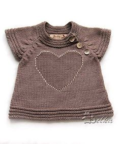 Bottom-up raglan with shaping decreases, false button band and horizontal rib cuffs, sporting a knit-in heart motif adorned with sequins.
