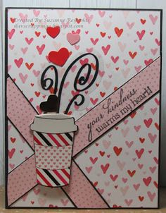 I Luv Scrapping Too: Your Kindness Warms My Heart - Spring/Summer Coffee Lovers BlogHop Coffee Steam, My Coffee, Card Kit, I Card, Candy Awards, Hot Chocolate Images, Heart Sketch, Paper Hearts, Summer Drinks