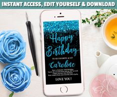 Welcome to my Etsy Shop Neon Birthday, 25th Birthday, Happy Birthday Me, Electronic Cards, Electronic Invitations, Glitter Text, Blue Glitter, Sms Message, Text Messages