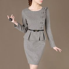 Autumn Winter Women Clothing New Office Outfit Simple Grey Dress Elegant Woolen Suits Plus size