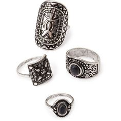 Forever 21 Etched Ring Set ($5.90)  liked on Polyvore featuring jewelry rings accessories forever 21 rings boho rings etched ring bohemian rings ve band jewelry