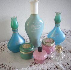 Vintage Avon Perfume Bottles in Pretty Pastel Pink and Aqua