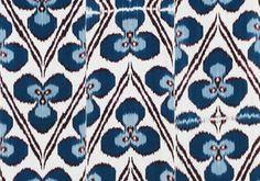 Blue poppy ikat fabric, Madeline Weinrib