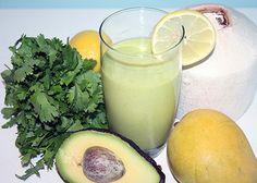 1/2 mango (fresh, or 1/2 cup frozen) 1/3 avocado 1/2 lemon 1 handful of cilantro (coriander) 1 cup (250 ml) fresh coconut water 1 handful of ice or add extra coconut water