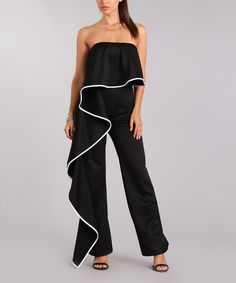 Take a look at this Black Draped Strapless Jumpsuit - Plus Too today!
