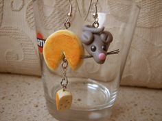 Fimo clay earrings mouse and cheese handmade di AlberodelleMele, €9.00