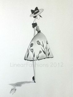 Fashion Illustration 1950s Tulip Party Dress Art by LinearFashions, $38.00.