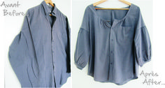 men's shirt to women's blouse - gathered sleeves, scoop neck, pleated back detail