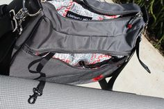 The Accel has a front easy access zipped compartment with phone and wallet slip pockets and swivel trigger clip keychain lanyard.    Learn more: http://livewell360.com/shop/accel/ #fitness #yoga #gym #bag