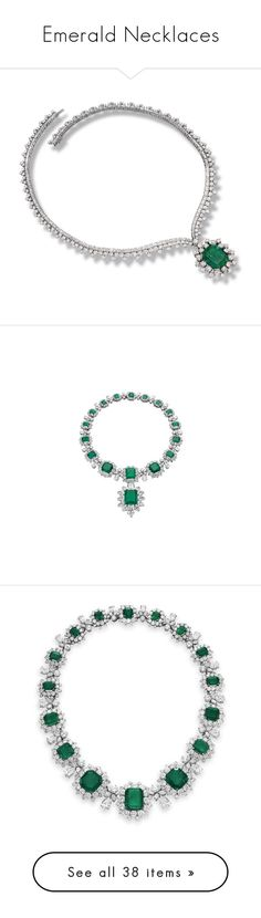 """""""Emerald Necklaces"""" by mickeysmit ❤ liked on Polyvore featuring jewelry, necklaces, wine jewelry, diamond jewellery, emerald diamond jewelry, diamond necklace, diamond jewelry, bulgari jewellery, emerald diamond necklace and emerald necklace"""