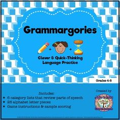 FREEBIE Parts of Speech Review: Grammargories Activity Activities For Adults, Speech Therapy Activities, Speech Language Pathology, Language Activities, Speech And Language, Noun Activities, 4th Grade Writing, 4th Grade Classroom, Parts Of Speech