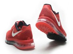 Nike Air Max 2014 Mens All Red Black Sliver Shoes