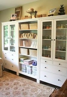 ikea craft room wall of ikea units craft room scrapbook room storage - Dining Room Cabinets Ikea