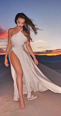 One shoulder split gown
