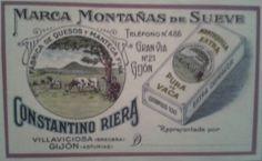 Antiguo cartel de MONTAÑAS DEL SUEVE, la fábrica de quesos y mantecas de Constantino Riera en Breceña (Villaviciosa) y Gijón