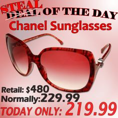 FACEBOOK DEAL OF THE DAY!   BRAND NEW CHANEL SUNGLASSES  LOWEST PRICE ANYWHERE!  Save over 54% Off Today!!!  http://www.savingshub.com/chanel-sunglasses-5216-13063p-p-7882.html  #chanel #chanelsunglasses #chanelshades #deals #discounts #chanelsunglasses #sunglasses #deals #savings #save #shades