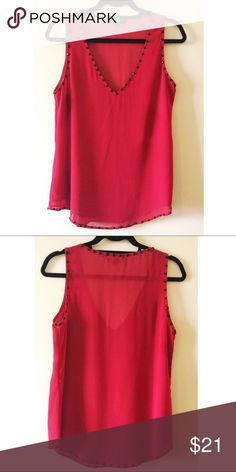 Sanctuary Red Tank w/ Black Beads Size Small Flowy tank top with black beaded details on the edges. No rips, stains or holes. Comes from a pet/smoke free home! Sanctuary Tops Blouses