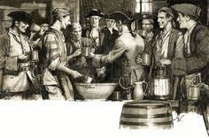 Up to the mid-1700s sailors aboard British Navy vessels were issued with half a pint of rum PER DAY! No wonder there were so many accidents aboard ship. It wasn't til 1740 that some bright spark thought it might be a good idea to at least dilute the rum with a quart of water, making a mixture known as grog. Later lime juice and sugar was also added to prevent scurvy, effectively creating an early moquito. Cheers!
