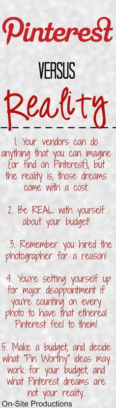 Pinterest Versus Reality...These are really great tips every bride on a budget needs to know!