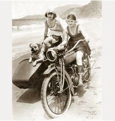 1920s motorcycle beach ride. Way better than lugging everything around