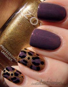 Purple, gold Leopard nails ~ Zoya nail polish ✿⊱╮
