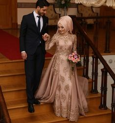 Brown Muslim Wedding Dress With Embroidery Details Bridal Hijab, Muslim Wedding Dresses, Hijab Bride, Muslim Brides, Wedding Hijab, Muslim Dress, Elegant Wedding Dress, Muslim Couples, Bridal Dresses